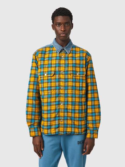 Diesel - S-BUN, Azul marino/Amarillo - Camisas - Image 1