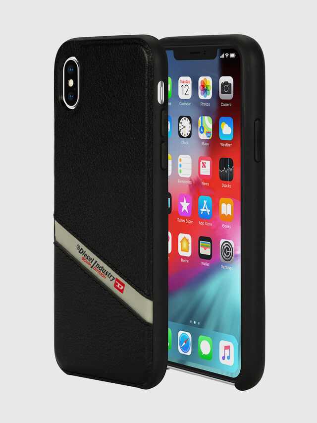 Diesel - DIESEL LEATHER CO-MOLD CASE FOR IPHONE XS MAX, Negro - Fundas - Image 1