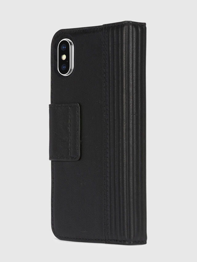 Diesel - BLACK LINED LEATHER IPHONE X FOLIO, Negro - Fundas tipo libro - Image 4