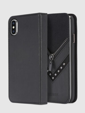 BLACK DENIM/STUD/ZIPPER IPHONE X FOLIO, Negro - Fundas tipo libro