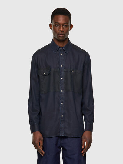 Diesel - D-MILLY-SP1, Azul Oscuro - Camisas de Denim - Image 1