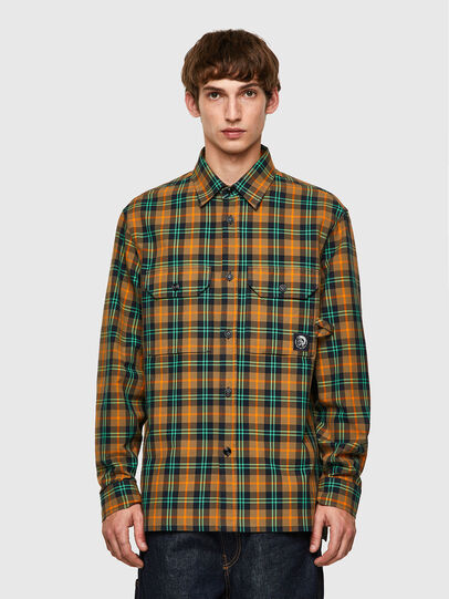 Diesel - S-JESS-CHECK, Naranja/Verde - Camisas - Image 1