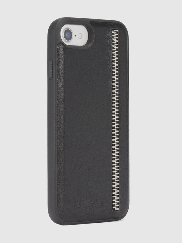 Diesel - ZIP BLACK LEATHER IPHONE 8 PLUS/7 PLUS/6s PLUS/6 PLUS CASE, Negro - Fundas - Image 5