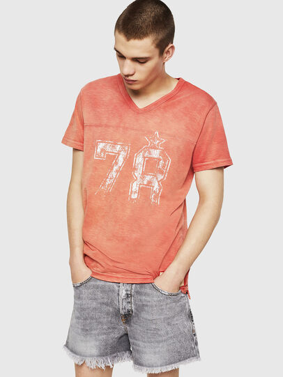 Diesel - T-DIEGO-V-CUT, Rojo Fuego - Camisetas - Image 4