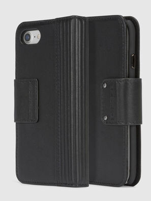 BLACK LINED LEATHER IPHONE 8/7 FOLIO, Negro - Fundas tipo libro