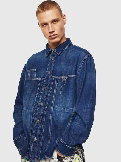 Diesel - D-FLOX, Azul medio - Camisas de Denim - Image 1