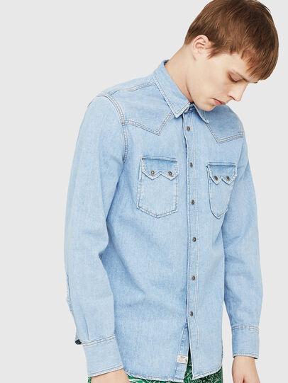 Diesel - D-LEO, Azul Claro - Camisas de Denim - Image 1