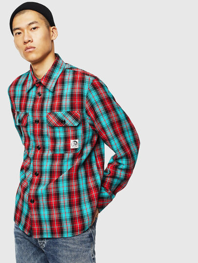 Diesel - S-GERRY-CHECK, Rojo - Camisas - Image 1