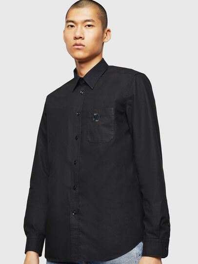 Diesel - S-MOI-R-BW, Negro - Camisas - Image 1