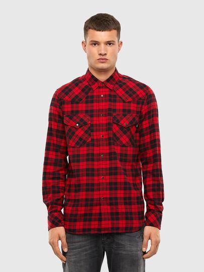 Diesel - S-EAST-LONG-CHK, Negro/Rojo - Camisas - Image 1