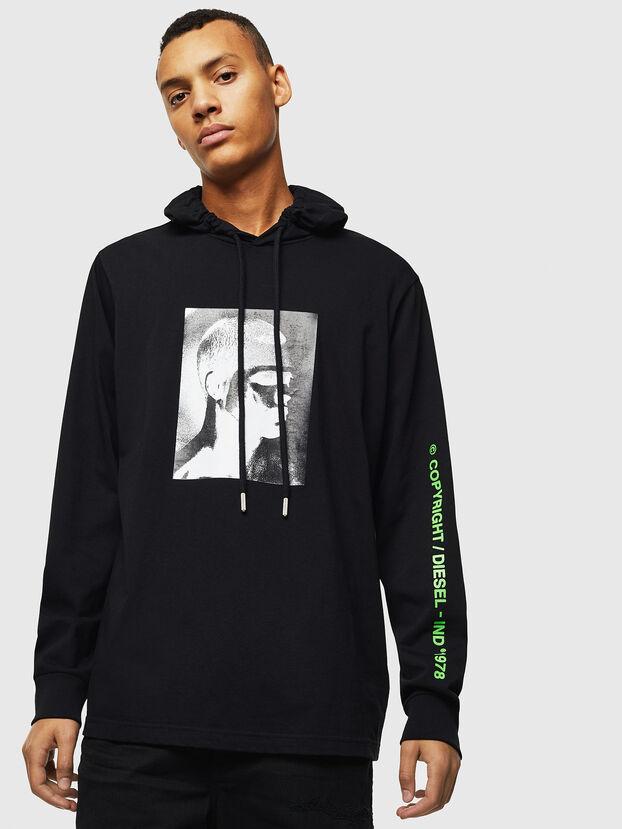 T-JUST-LS-HOOD-J5, Negro - Camisetas