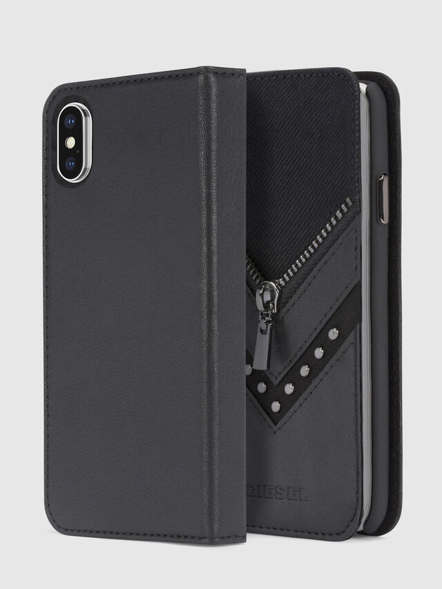 Diesel - BLACK DENIM/STUD/ZIPPER IPHONE X FOLIO, Negro - Fundas tipo libro - Image 1