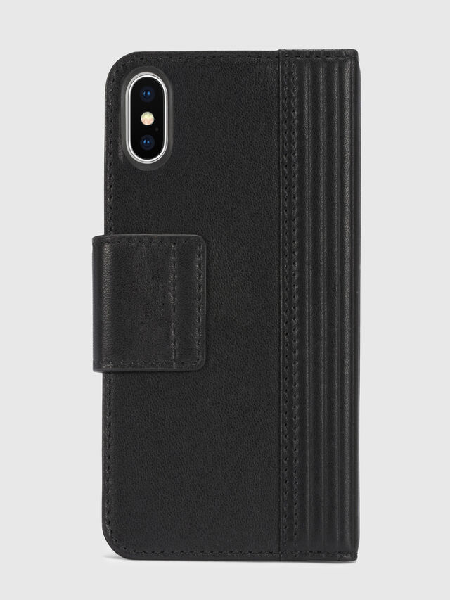 Diesel - BLACK LINED LEATHER IPHONE X FOLIO, Negro - Fundas tipo libro - Image 5