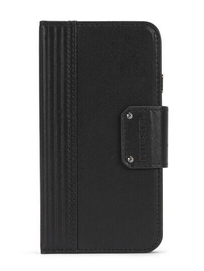 Diesel - BLACK LINED LEATHER IPHONE 8 PLUS/7 PLUS FOLIO, Negro - Fundas tipo libro - Image 1