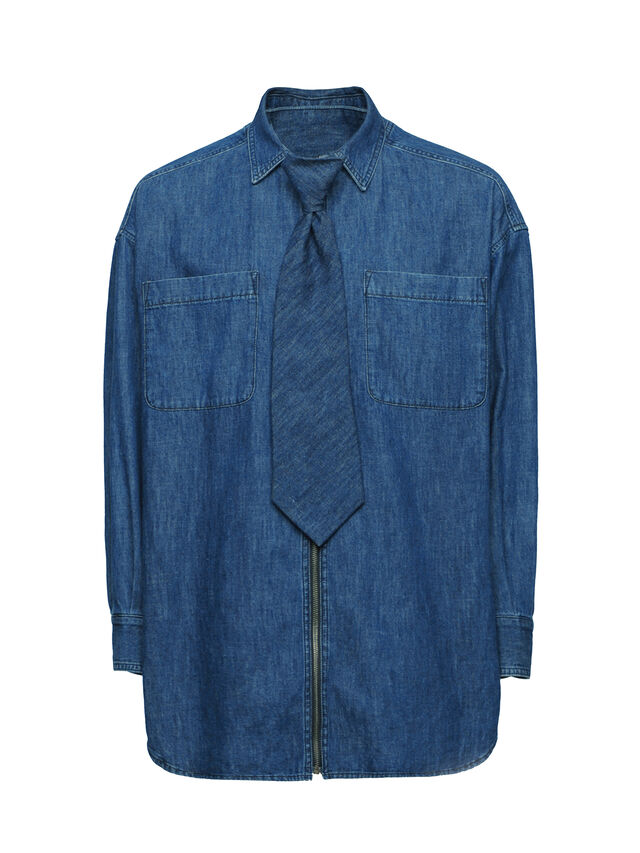 Diesel - SOTS01, Azul Oscuro - Camisas - Image 1