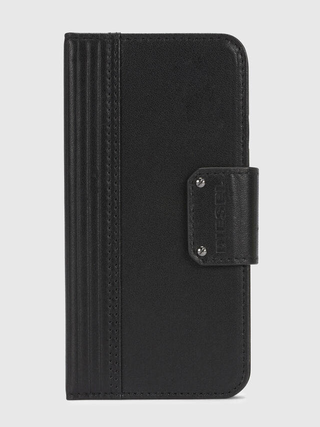 Diesel - BLACK LINED LEATHER IPHONE X FOLIO, Negro - Fundas tipo libro - Image 2