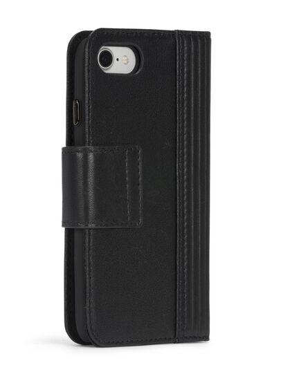 Diesel - BLACK LINED LEATHER IPHONE 8 PLUS/7 PLUS FOLIO, Negro - Fundas tipo libro - Image 7