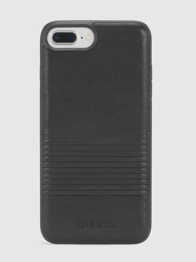 Diesel - BLACK LINED LEATHER IPHONE 8 PLUS/7 PLUS/6s PLUS/6 PLUS CASE, Negro - Fundas - Image 2