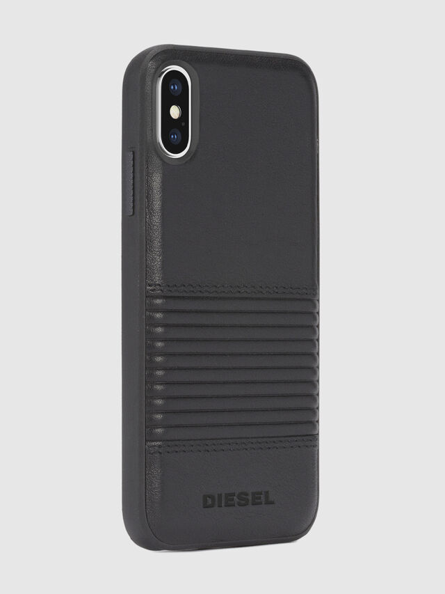 Diesel - BLACK LINED LEATHER IPHONE X CASE, Piel Negra - Fundas - Image 5