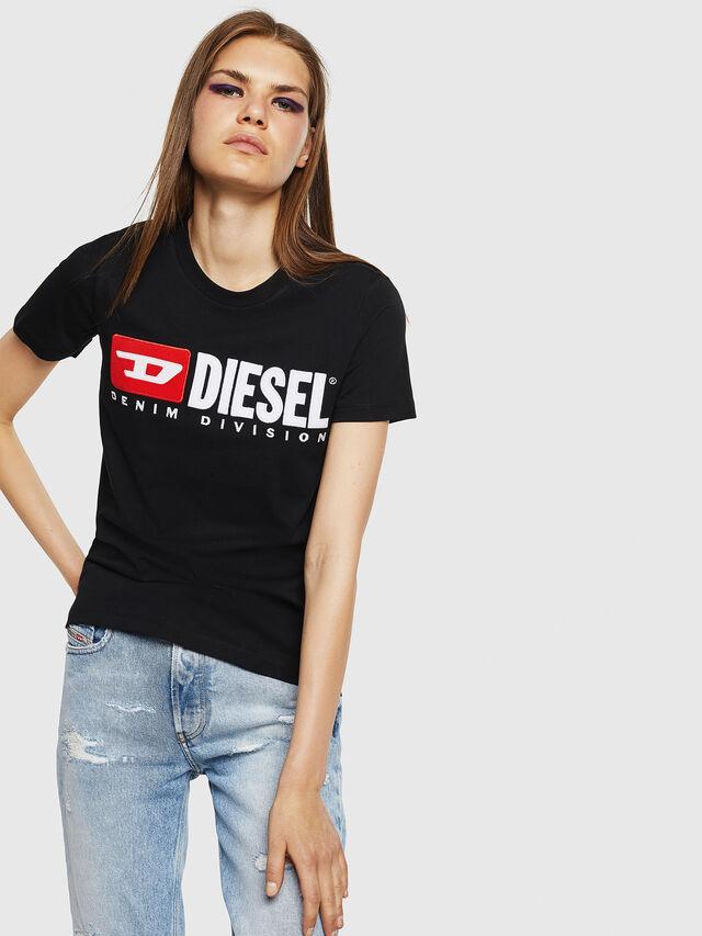 Diesel - T-SILY-DIVISION, Negro - Camisetas - Image 1