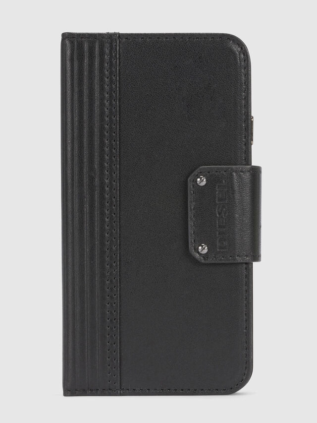 Diesel BLACK LINED LEATHER IPHONE 8/7 FOLIO, Negro - Fundas tipo libro - Image 3