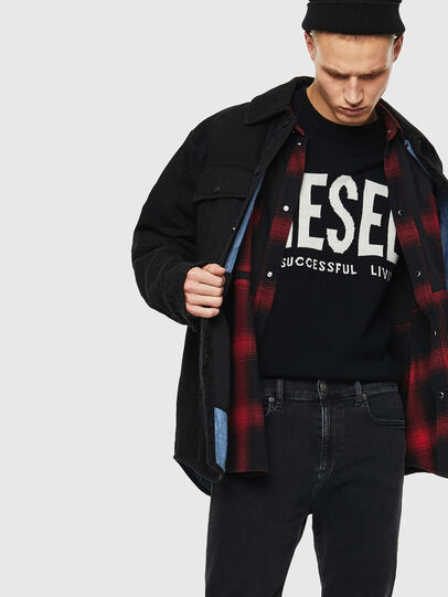 Diesel - D-WELLES, Negro/ Rojo - Camisas de Denim - Image 3