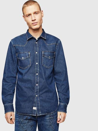Diesel - D-EAST-P, Azul medio - Camisas de Denim - Image 1