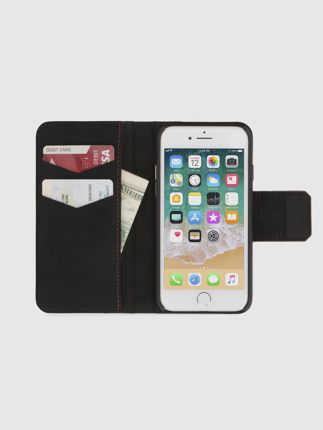 Diesel BLACK LINED LEATHER IPHONE 8/7 FOLIO, Negro - Fundas tipo libro - Image 7