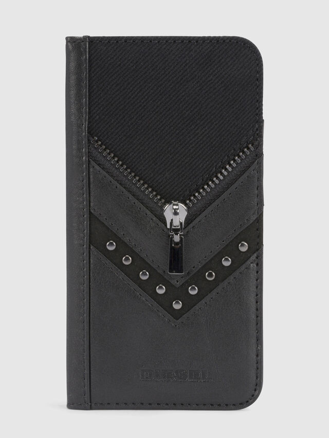 Diesel - BLACK DENIM/STUD/ZIPPER IPHONE X FOLIO, Negro - Fundas tipo libro - Image 2