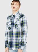 S-EAST-LONG-F, Blanco/Azul - Camisas