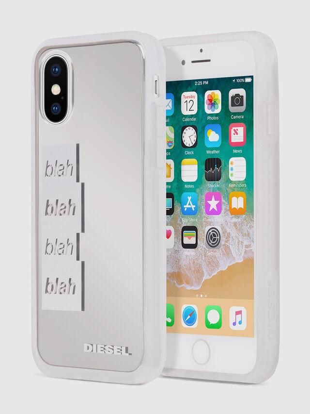 Diesel - BLAH BLAH BLAH IPHONE X CASE, Blanco/Plateado - Fundas - Image 1