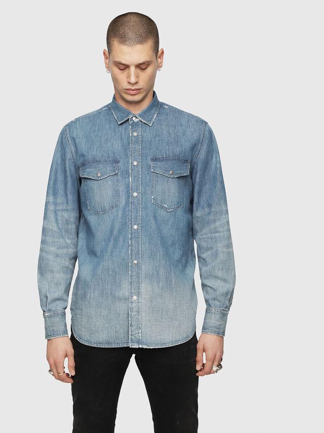 adb74149b9 D-ROOKE-Y Hombre  Camisa de tela vaquera con lavado vintage