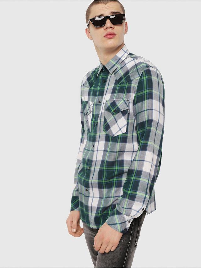 Diesel - S-EAST-LONG-F, Verde/Gris - Camisas - Image 1