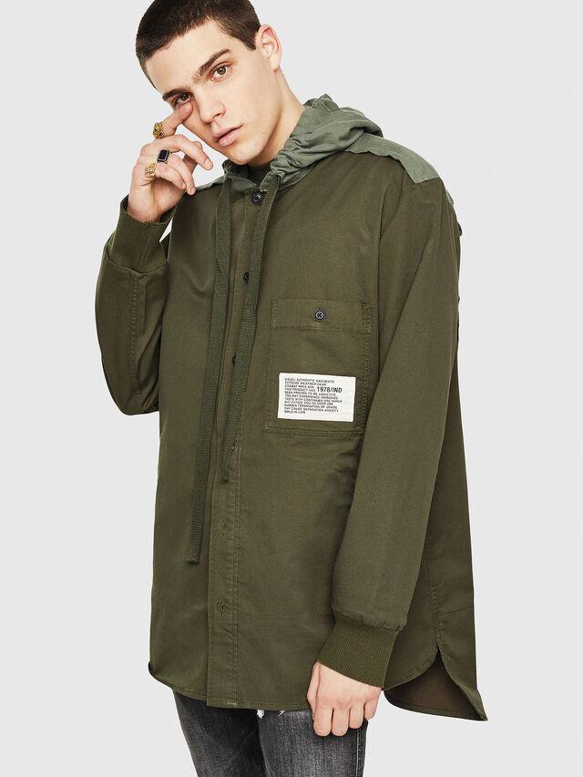 Diesel - S-EIKU, Verde Militar - Camisas - Image 1