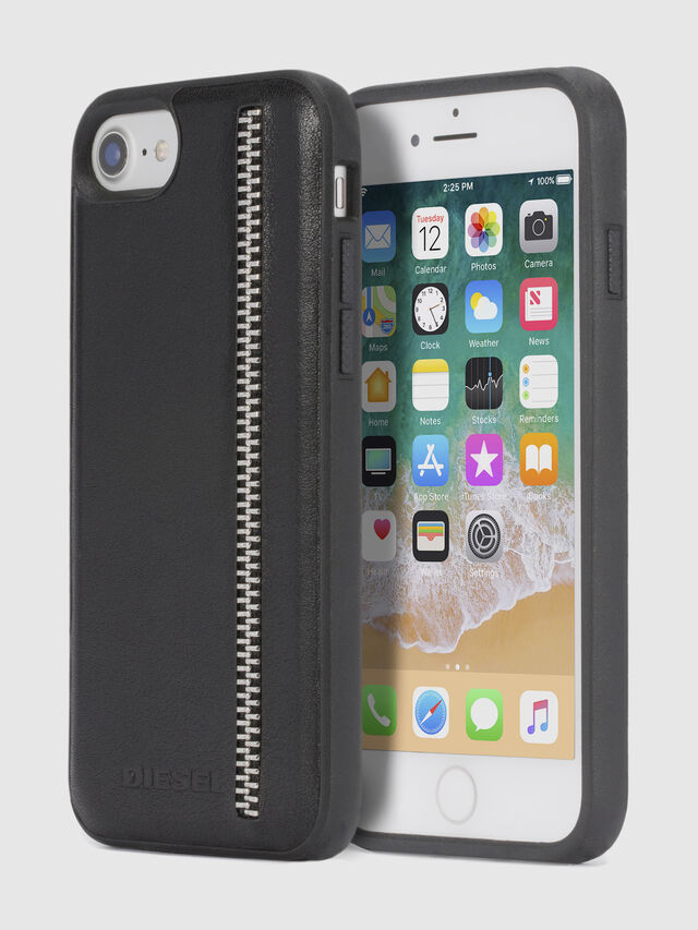 Diesel - ZIP BLACK LEATHER IPHONE 8/7/6s/6 CASE, Negro - Fundas - Image 1