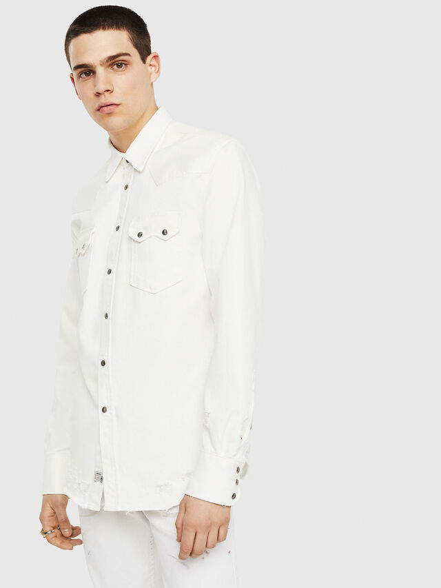 Diesel - D-LEO, Blanco - Camisas de Denim - Image 1