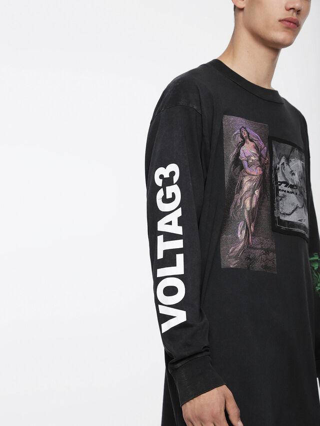 Diesel - T-LUCAS-LS-XF, Negro - Camisetas - Image 3