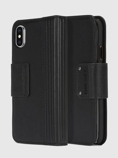 Diesel - BLACK LINED LEATHER IPHONE X FOLIO,  - Fundas tipo libro - Image 1