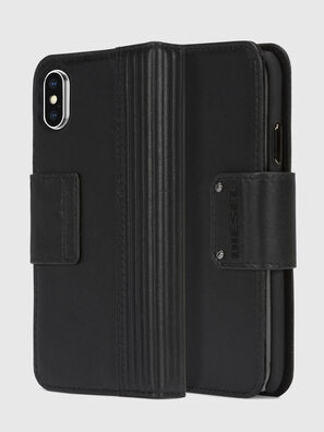 BLACK LINED LEATHER IPHONE X FOLIO, Negro - Fundas tipo libro