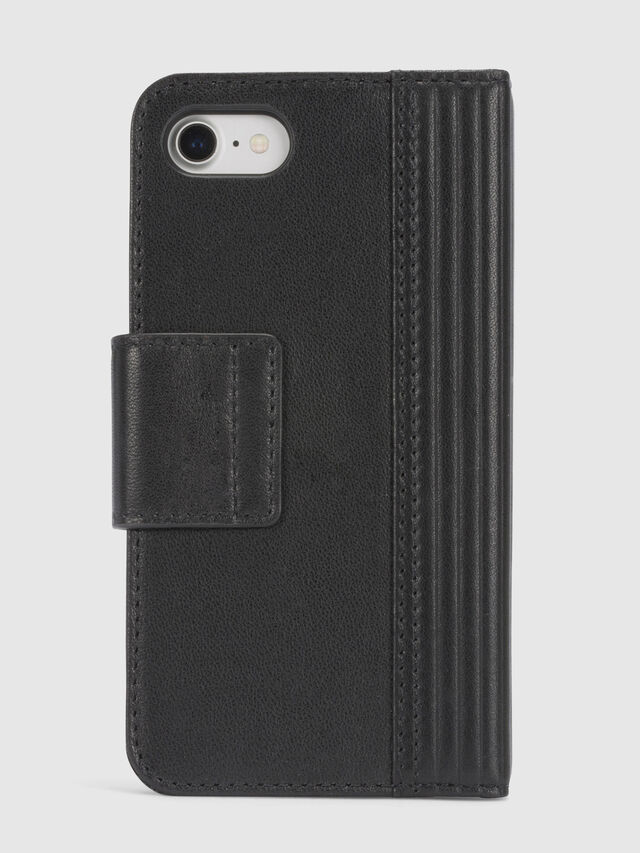 Diesel BLACK LINED LEATHER IPHONE 8/7 FOLIO, Negro - Fundas tipo libro - Image 4