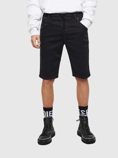 Diesel - D-KROOSHORT JOGGJEANS, Negro/Gris oscuro - Shorts - Image 1