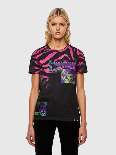 Diesel - T-SILY-R3, Negro/Rosa - Camisetas - Image 1