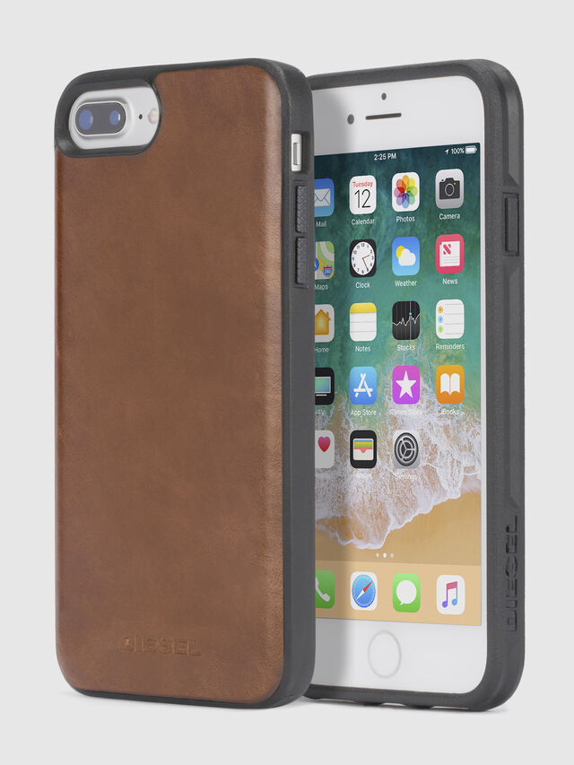 Diesel - BROWN LEATHER IPHONE 8 PLUS/7 PLUS/6s PLUS/6 PLUS CASE, Marrón - Fundas - Image 1