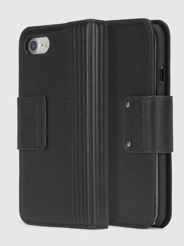 Diesel BLACK LINED LEATHER IPHONE 8/7 FOLIO, Negro - Fundas tipo libro - Image 1