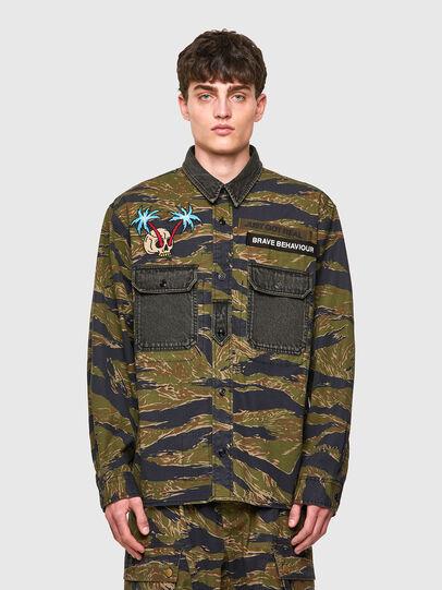 Diesel - S-BUNNELL-CMF, Verde Militar - Camisas - Image 1
