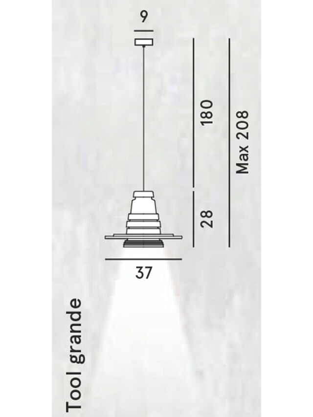 Living TOOL GRANDE SOSP, Negro - Lámparas de Suspensión - Image 2