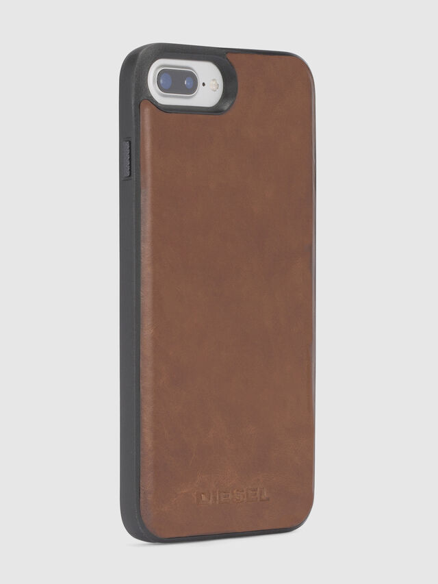Diesel - BROWN LEATHER IPHONE 8 PLUS/7 PLUS/6s PLUS/6 PLUS CASE, Marrón - Fundas - Image 4