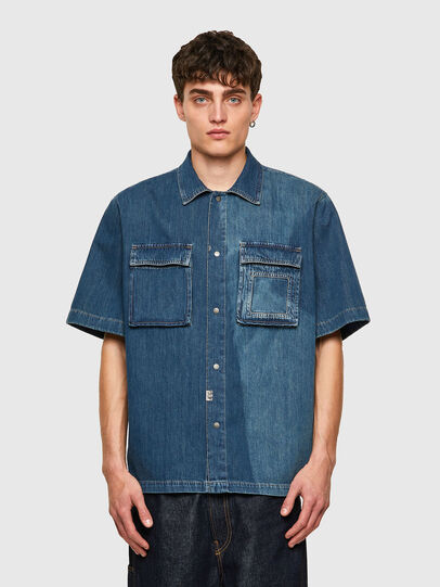 Diesel - D-GUNN-SP, Azul medio - Camisas de Denim - Image 1