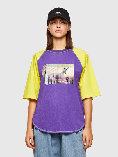 Diesel - T-SPO, Morado/Amarillo - Camisetas - Image 1
