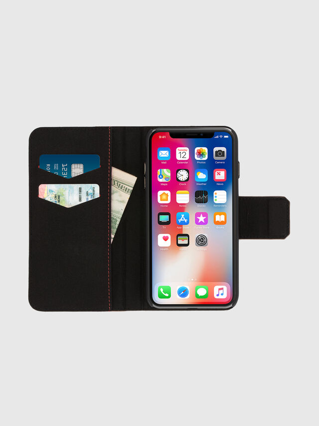 Diesel - BLACK LINED LEATHER IPHONE X FOLIO, Negro - Fundas tipo libro - Image 6